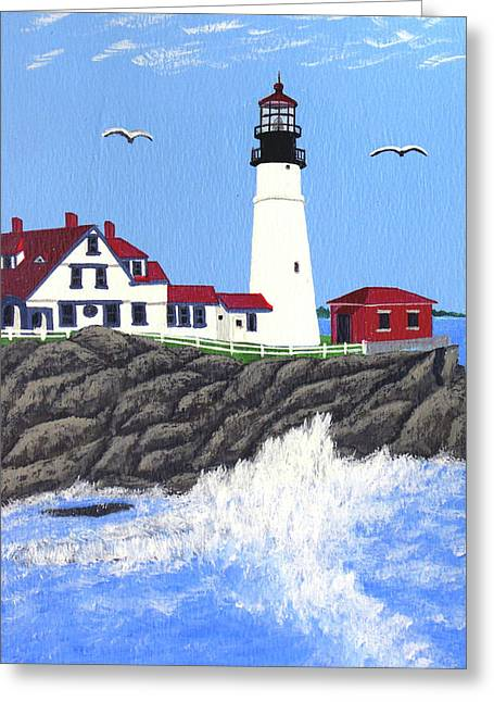 Portland Head Lighthouse Painting Greeting Card by Frederic Kohli