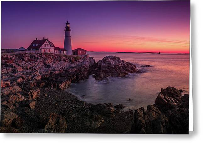Greeting Card featuring the photograph Portland Head Lighthouse Sunrise  by Emmanuel Panagiotakis
