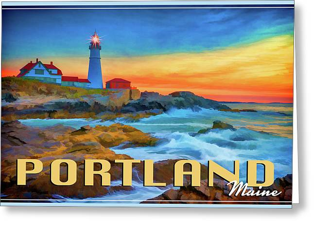 Portland Head Lighthouse Vintage Travel Poster Greeting Card