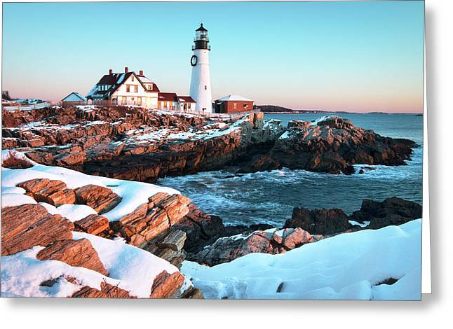 Portland Head Lighthouse Winter Sunrise Greeting Card by Eric Gendron