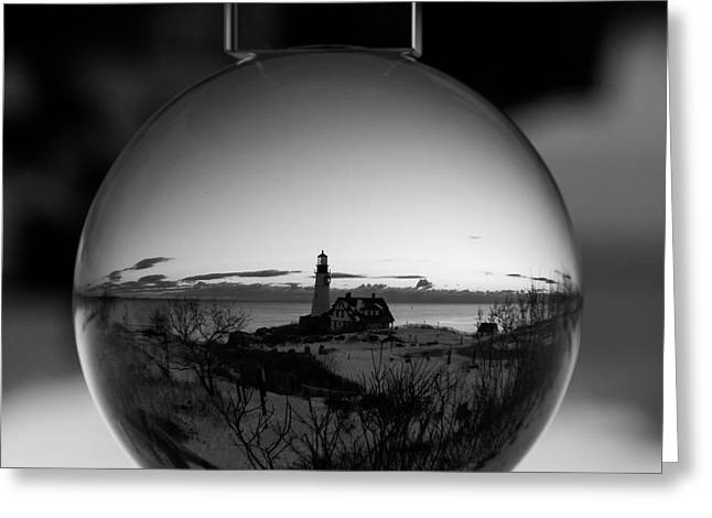 Portland Headlight Globe Greeting Card