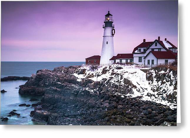 Maine Portland Headlight Lighthouse In Winter Snow Greeting Card