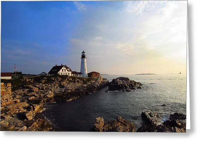 Portland Headlight Morning Glow Greeting Card