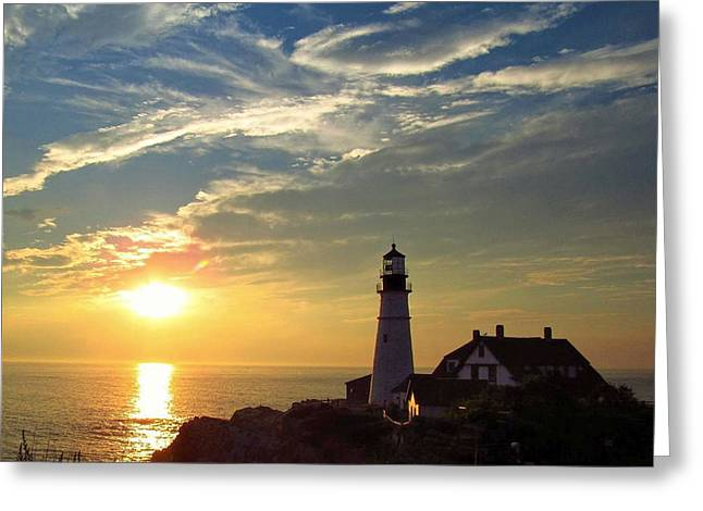 Portland Headlight Sunbeam Greeting Card
