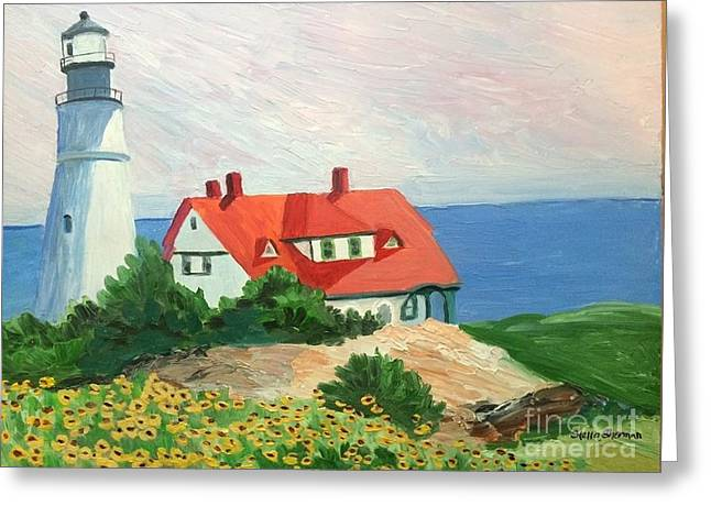 Portland Headlight With Brown Eyed Susans Greeting Card by Stella Sherman