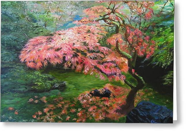 Portland Japanese Maple Greeting Card by LaVonne Hand