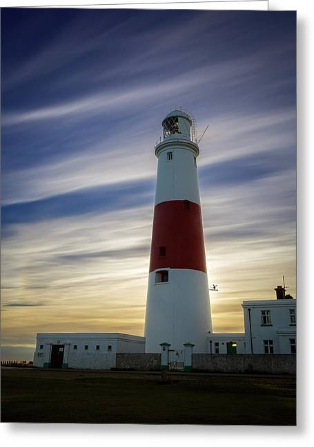 Portland Lighthouse At Sunset Greeting Card