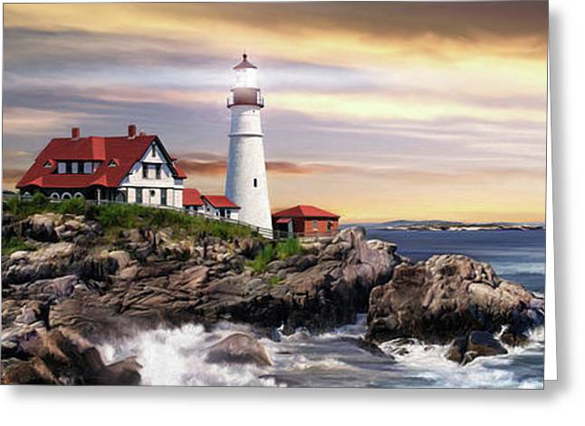 Portland Lighthouse Greeting Card by Brent Borup