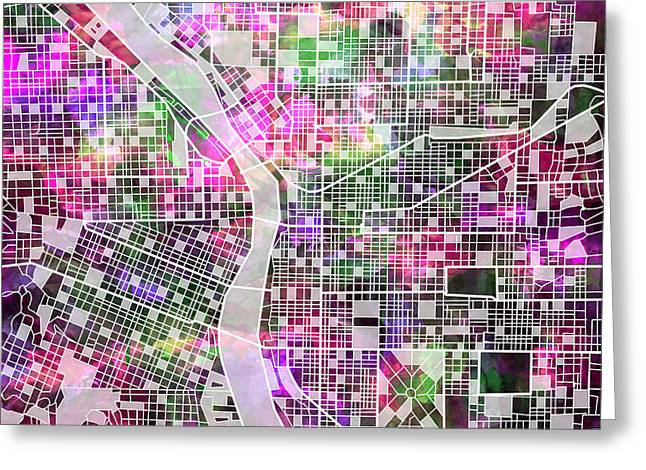 Portland Map Watercolor Greeting Card by Bekim Art