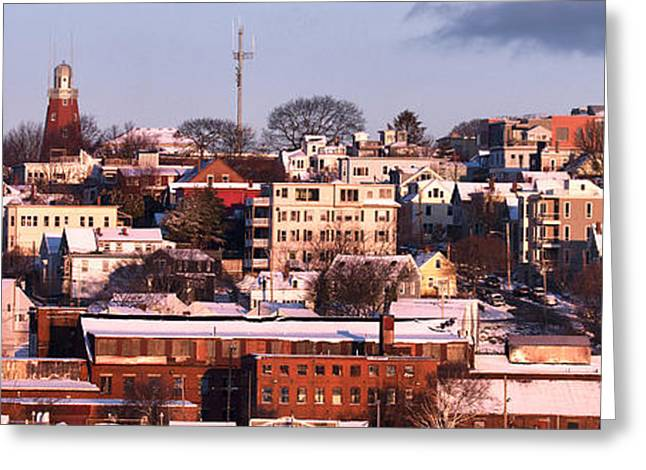 Portland Munjoy Hill Panorama Greeting Card by Eric Gendron