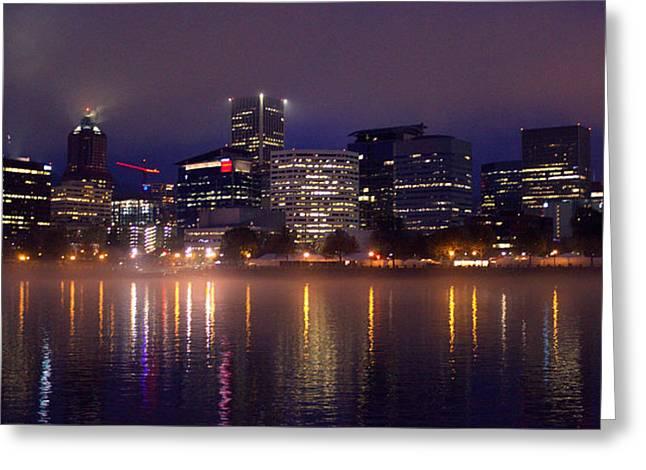 Portland Night Skyline Greeting Card by Joseph Skompski