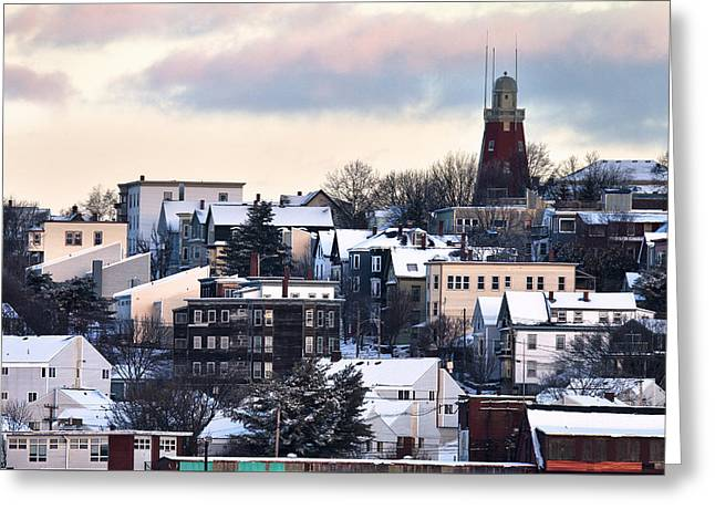 Portland Observatory Winter Skyline Greeting Card