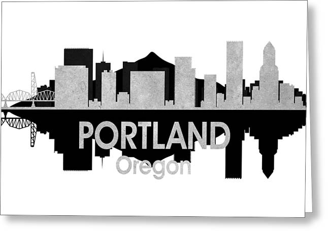 Portland Or 4 Squared Greeting Card by Angelina Vick