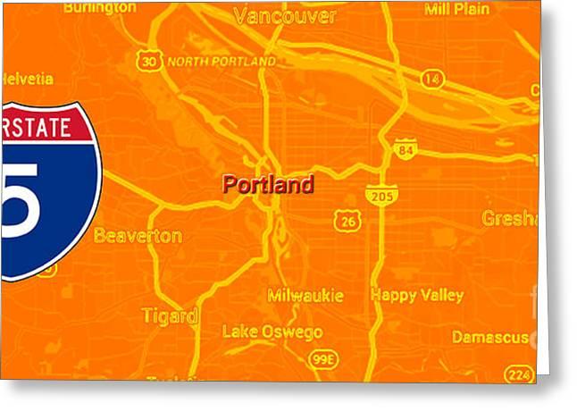 Portland Orange Mid Century Map, Interstate 5 Greeting Card by Pablo Franchi