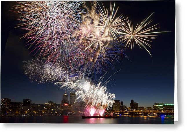 Portland Oregon Fireworks Greeting Card by David Gn