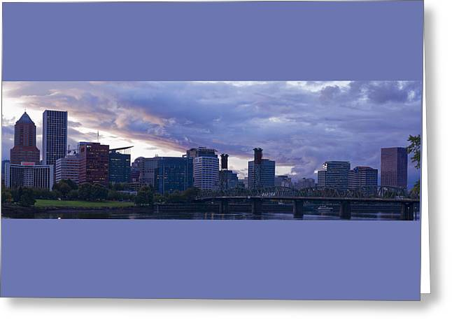 Greeting Card featuring the photograph Portland Oregon Panorama by Jonathan Davison