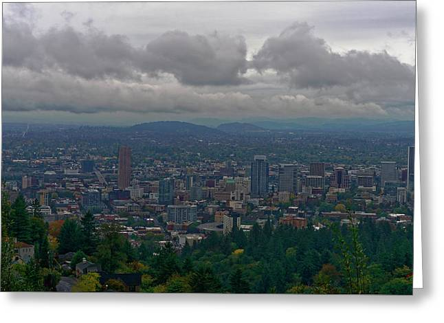 Greeting Card featuring the photograph Portland Overlook by Jonathan Davison