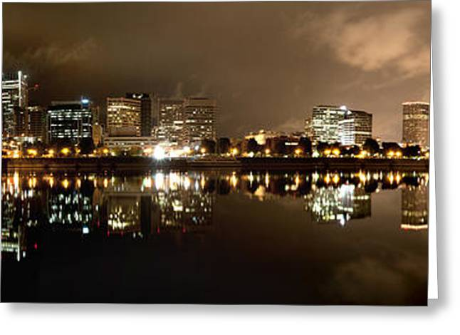 Willamette Greeting Cards - Portland Panorama Greeting Card by Brian Bonham