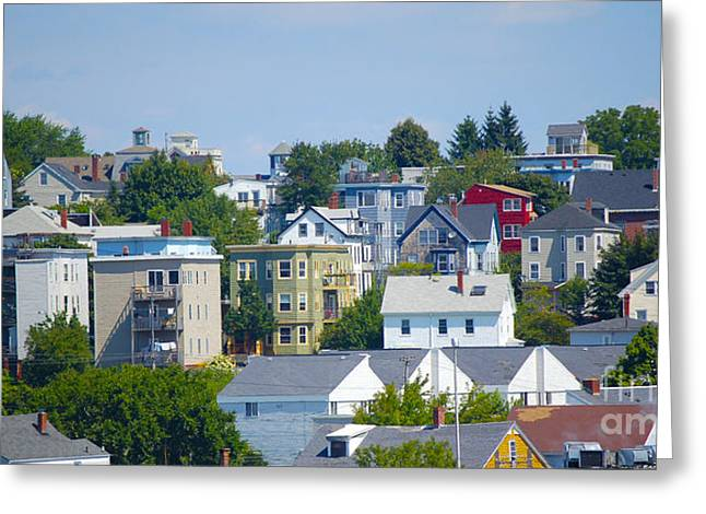Portland Rooftops Greeting Card by Faith Harron Boudreau