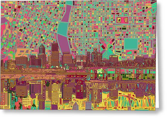 Portland Skyline Abstract 2 Greeting Card