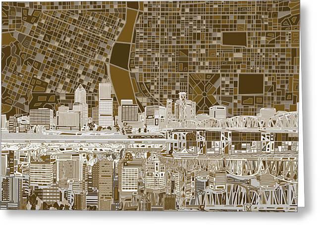Portland Skyline Abstract 6 Greeting Card