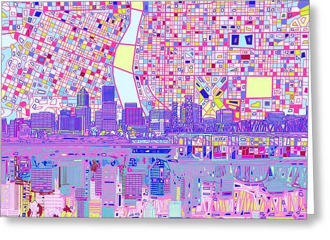Portland Skyline Abstract Greeting Card