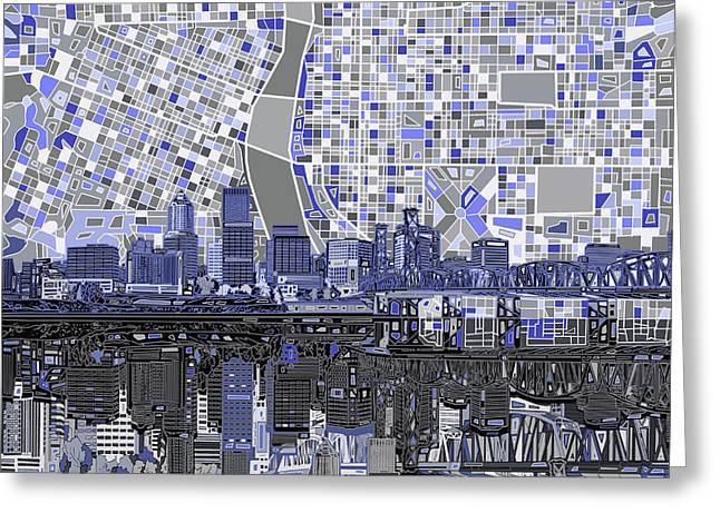 Portland Skyline Abstract Nb Greeting Card