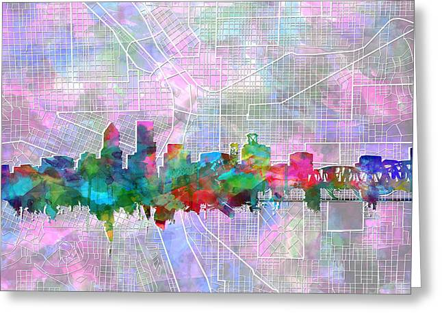 Portland Skyline Watercolor 6 Greeting Card