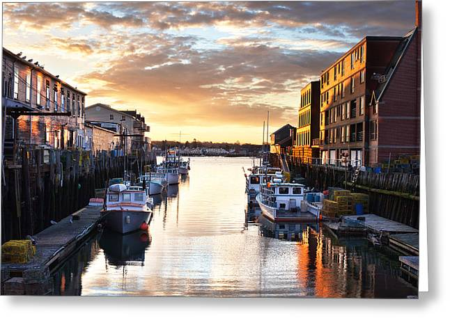 Portland Sunrise At The Custom House Wharf Greeting Card by Eric Gendron