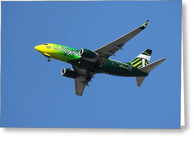 Greeting Card featuring the photograph Portland Timbers - Alaska Airlines N607as by Aaron Berg
