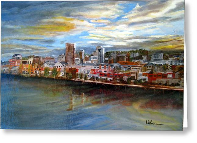 Portland Waterfront From Broadway Bridge Greeting Card