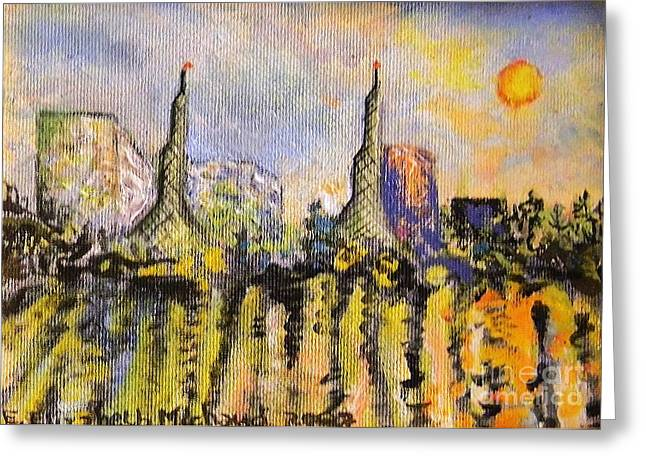 Portland Waterfront Morning Greeting Card by Emily Michaud