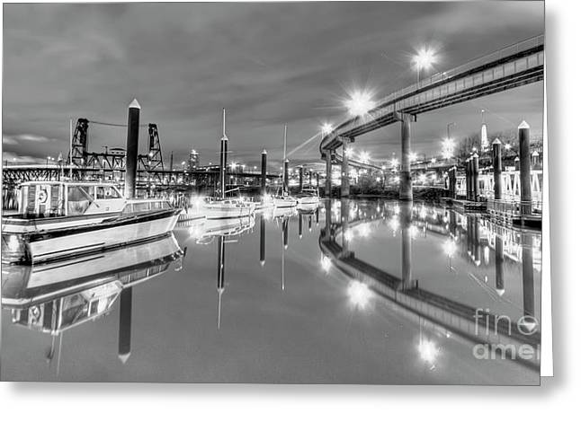 Portland Waterfront Overpass And Boats Greeting Card