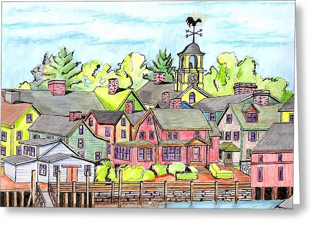 Portmouth Nh Harbor Greeting Card by Paul Meinerth