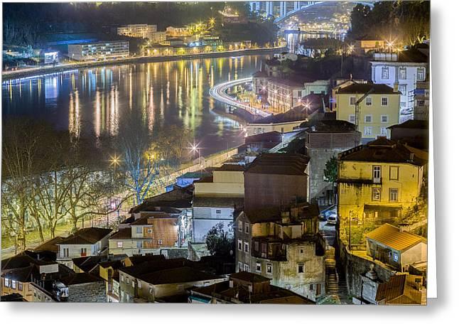 Porto @ Night Passeio Das Virtudes Greeting Card
