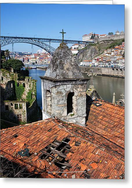 Porto And Gaia Picturesque Urban Scenery In Portugal Greeting Card by Artur Bogacki
