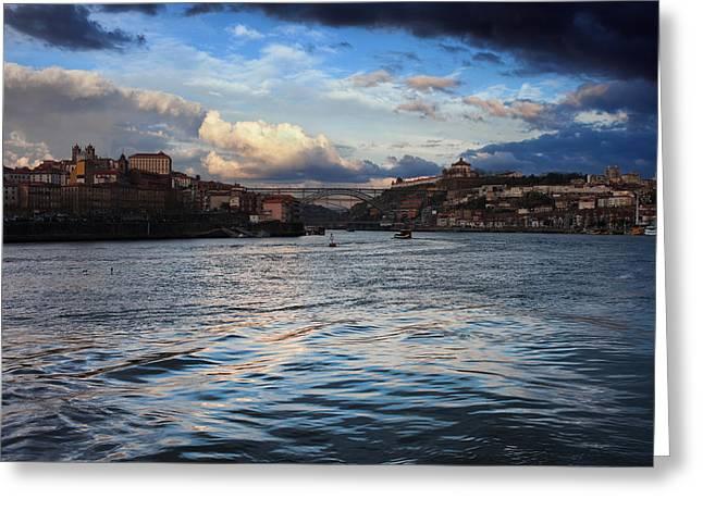 Porto And Vila Nova De Gaia River View Greeting Card