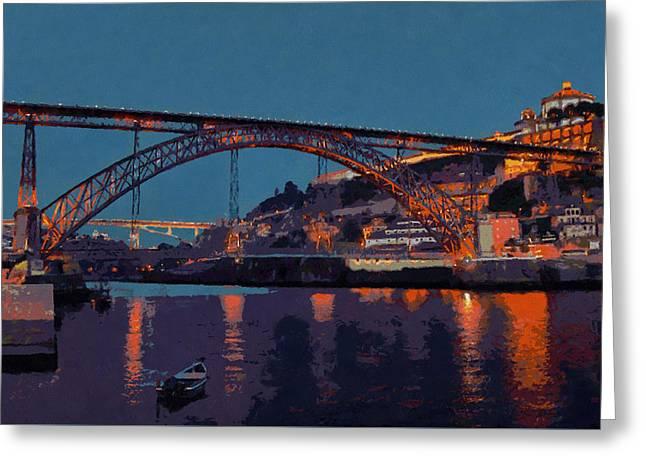 Porto River Douro And Bridge In The Evening Light Greeting Card by Menega Sabidussi