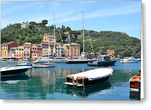 Portofino Boats Greeting Card by Corinne Rhode