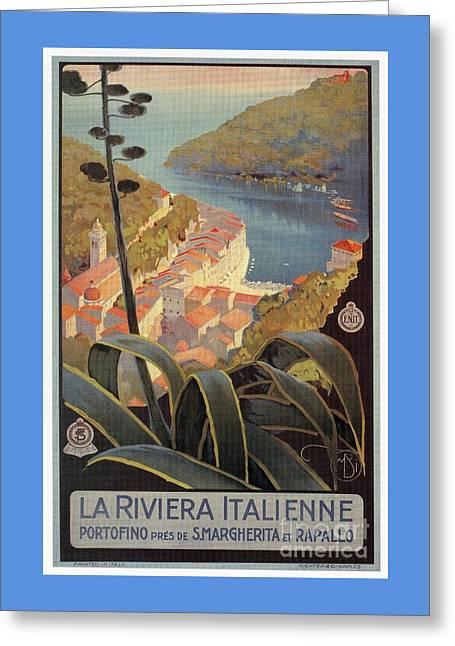 Portofino Italian Riviera Greeting Card by Aapshop
