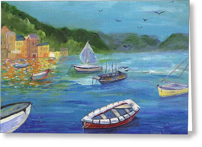 Greeting Card featuring the painting Portofino, Italy by Jamie Frier