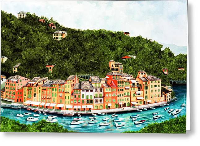 Portofino, Italy Prints From Original Oil Painting Greeting Card by Mary Grden Fine Art Oil Painter Baywood Gallery