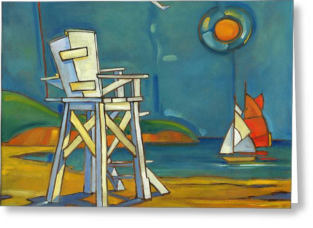 Portofino Lifeguard Chair Greeting Card by Paul Brent