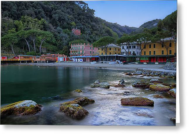 Portofino Mills Valley With Paraggi Bay And Beach Greeting Card
