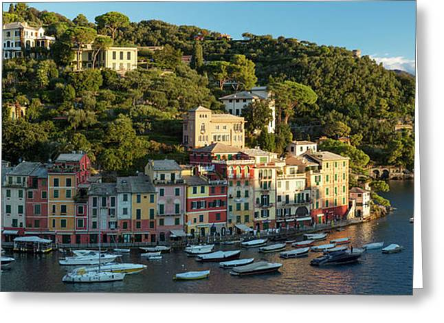 Portofino Morning Panoramic Greeting Card by Brian Jannsen