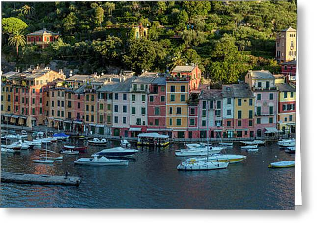 Greeting Card featuring the photograph Portofino Morning Panoramic II by Brian Jannsen