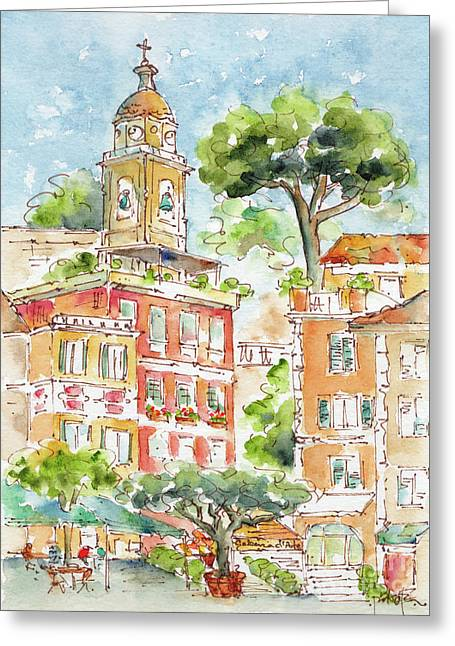 Greeting Card featuring the painting Portofino Piazetta by Pat Katz