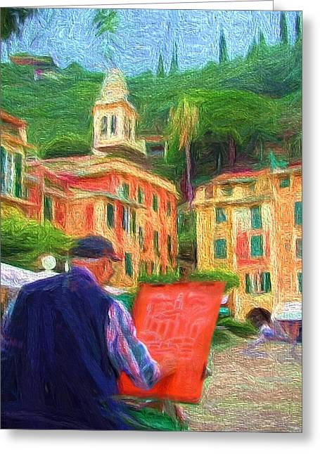Portofino Through The Eyes Of An Artist Greeting Card by Mitchell R Grosky