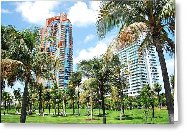 Portofino Towers 2 South Beach Miami Greeting Card by Amanda Vouglas