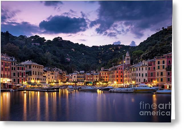 Portofino Twilight Greeting Card by Brian Jannsen